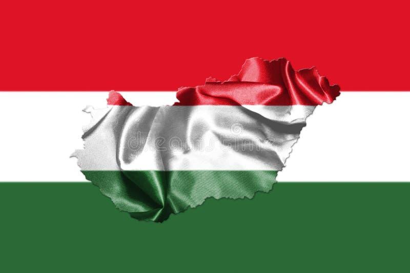 Ungersk nationsflagga och översikt som vinkar i illustratien för vind 3D vektor illustrationer