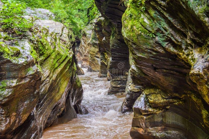 Ungesehen in Thailand: Wang Sila Lang Grand Canyon bei Pua, Nan, Thailand lizenzfreies stockbild