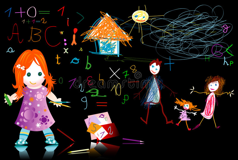 ungeskola stock illustrationer
