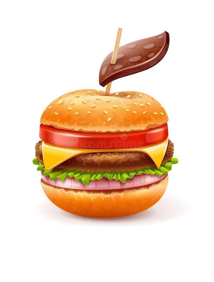 Ungesundes Essenkonzept mit Hamburger mögen Apfel lizenzfreie abbildung