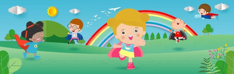 UngeSuperheroes som bär komikerdräkter, barn med dräktuppsättningen för toppen hjälte, gulliga små barn i Superherodräkttecken stock illustrationer