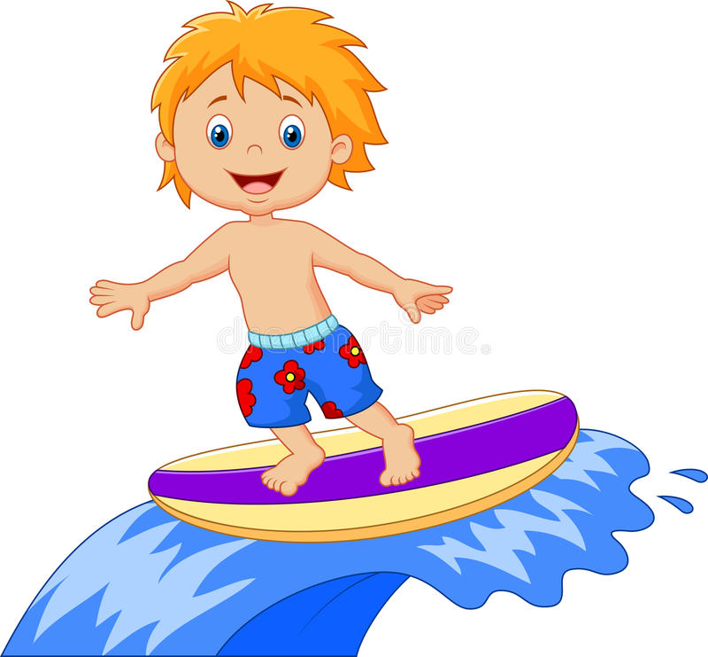 Ungetecknad filmlek som surfar på surfingbrädan över stor våg royaltyfri illustrationer