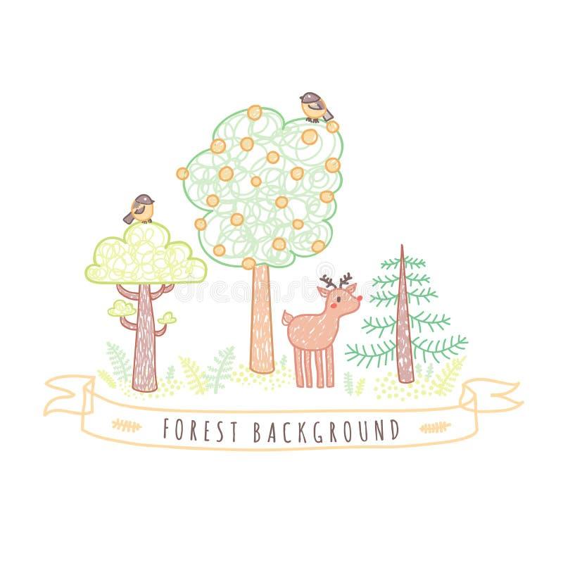Ungeteckningar klottrar stilskogbakgrund med träd, fåglar och hjortar royaltyfri illustrationer