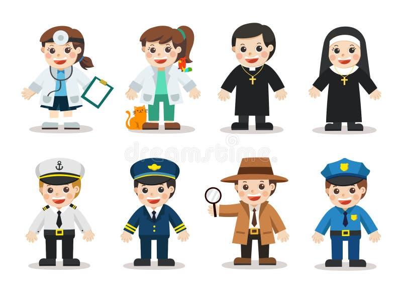Ungeuppsättning av olika yrken stock illustrationer