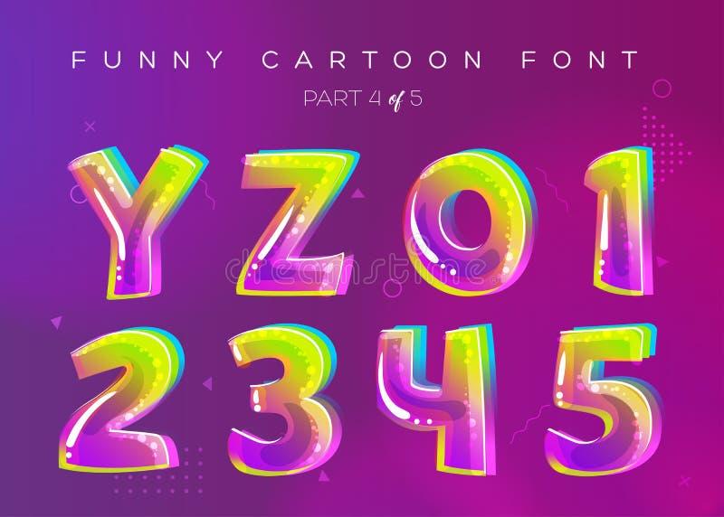 Ungevektorstilsort i tecknad filmstil Ljus och färgrik bokstav 3D royaltyfri illustrationer