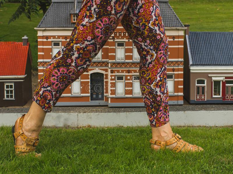 Ungewöhnliche Ansicht, Gulliver, das in Stadt, vor Häusern geht stockbild