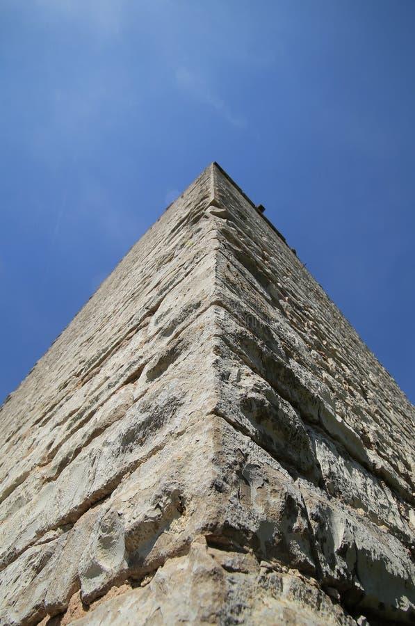 Ungewöhnliche aufwärts Weitwinkelansicht eines Schlosses halten lizenzfreie stockbilder