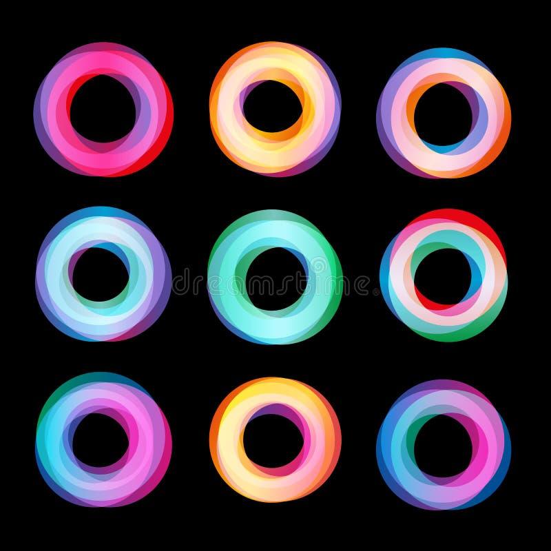 Ungewöhnlicher abstrakter geometrischer Formvektor-Logosatz Rundschreiben, polygonale bunte Firmenzeichensammlung auf dem Schwarz stock abbildung