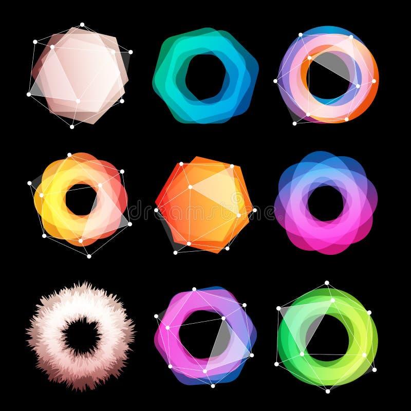 Ungewöhnlicher abstrakter geometrischer Formvektor-Logosatz Rundschreiben, polygonale bunte Firmenzeichensammlung auf dem Schwarz vektor abbildung