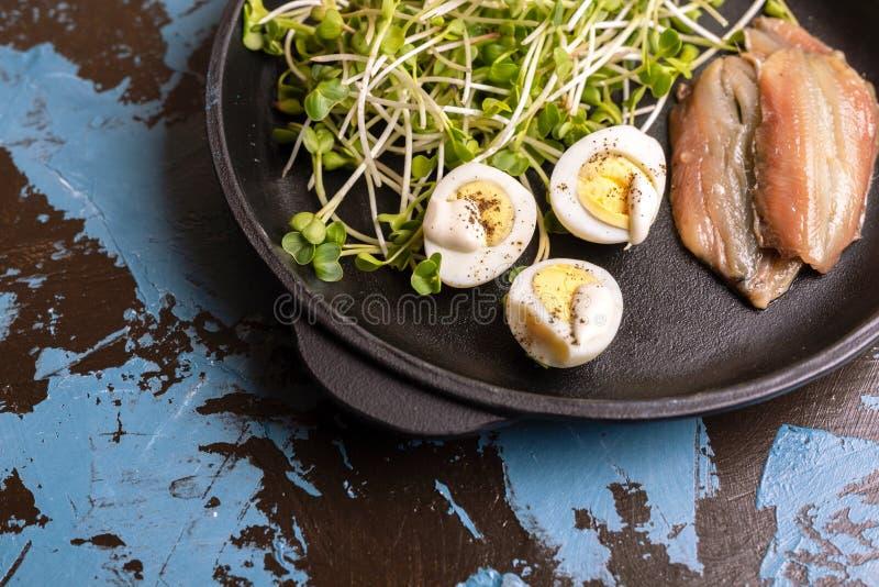 Ungewöhnlicher Salat mit Rettichsprösslingen, Wachteleiern und Sardellen stockbild