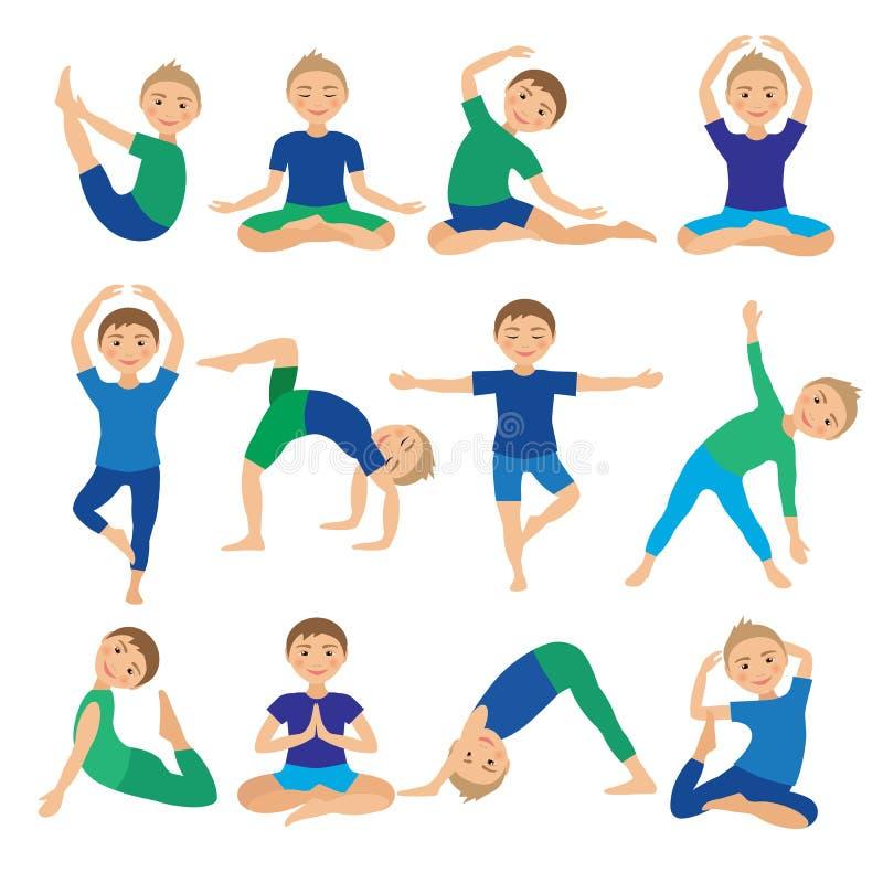Ungeyoga poserar vektorillustrationen Barn som gör övningar Ställing för unge Sund barnlivsstil Behandla som ett barn gymnastik s royaltyfri illustrationer