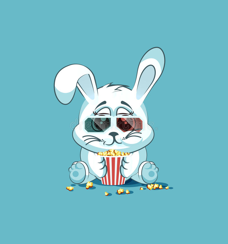 Unghare för tecknad film för illustrationEmoji tecken som vit tuggar popcorn, hållande ögonen på film i klistermärkeemoticon för  stock illustrationer