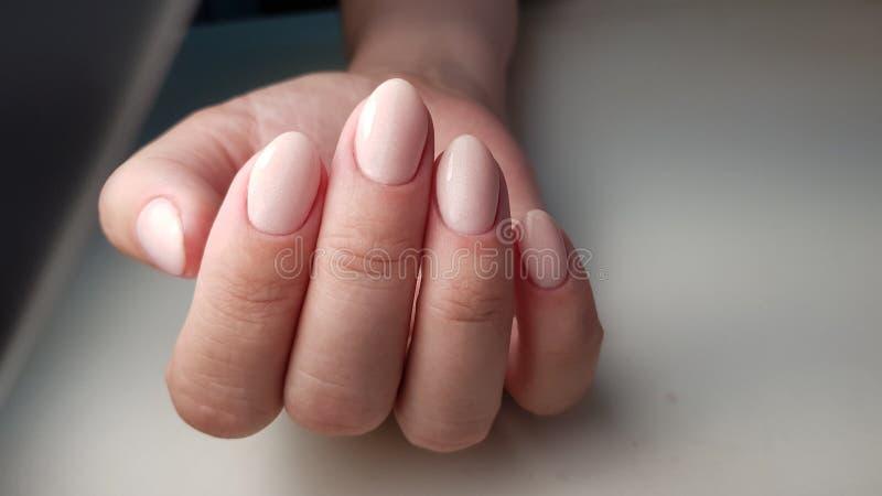 Unghie con il manicure pulito fotografia stock