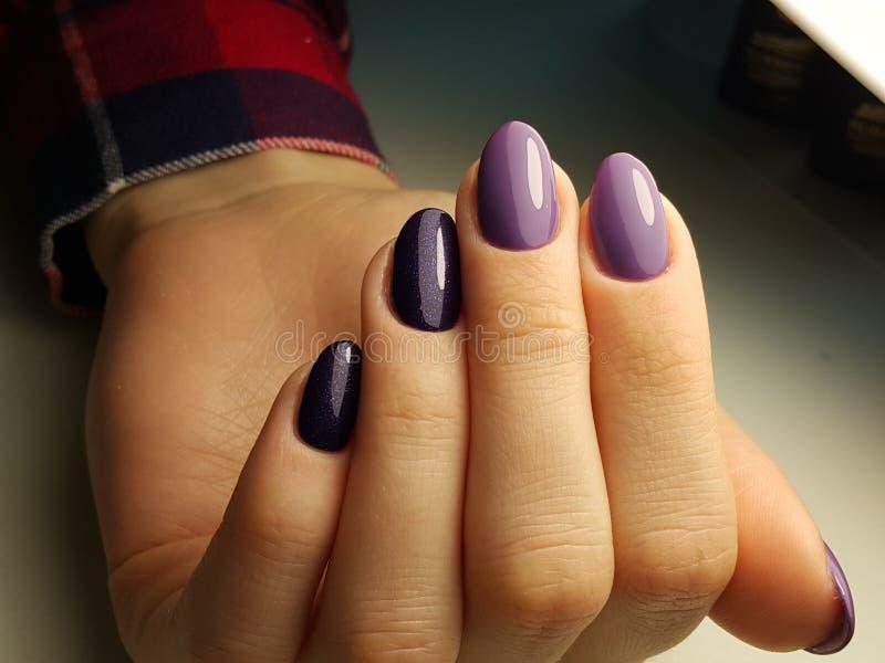 Unghie pulite del manicure con la lucidatura del gel fotografia stock