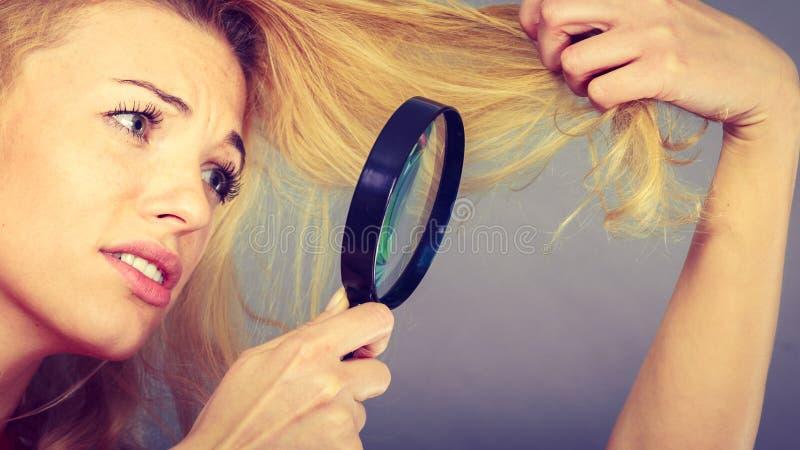 Unglückliche Frau, die durch Vergrößerungsglas zerstörtes Haar schaut stockfoto