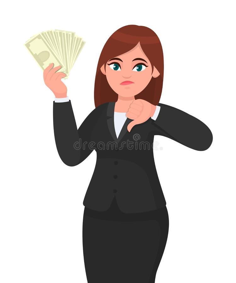 Unglückliche Geschäftsfrauvertretung/in der Hand halten Bündel Geld, Bargeld, Dollar, Währung, Banknoten und Gestikulieren, Daume stock abbildung