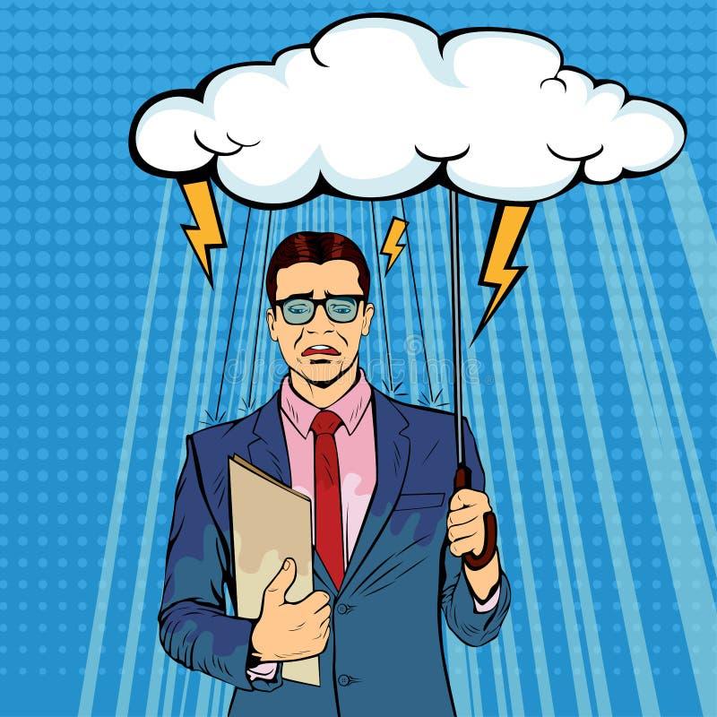 Unglücklicher Geschäftsmann, der die Regenschirmwolke ist naß vom Regnen halten steht stock abbildung