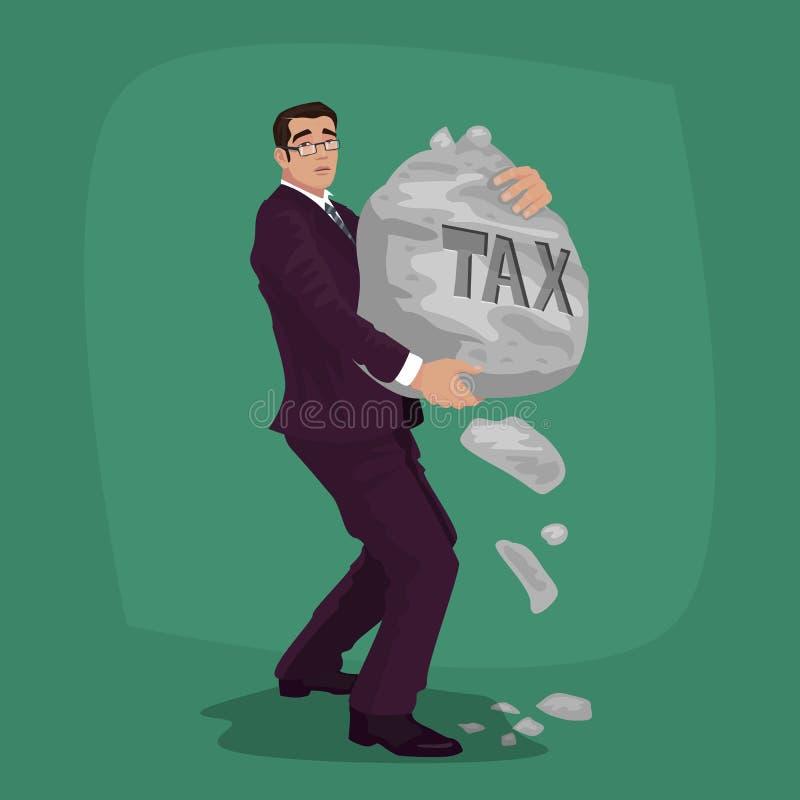 Unglücklicher Geschäftsmann tragen Felsen mit Beschriftung Steuer stock abbildung