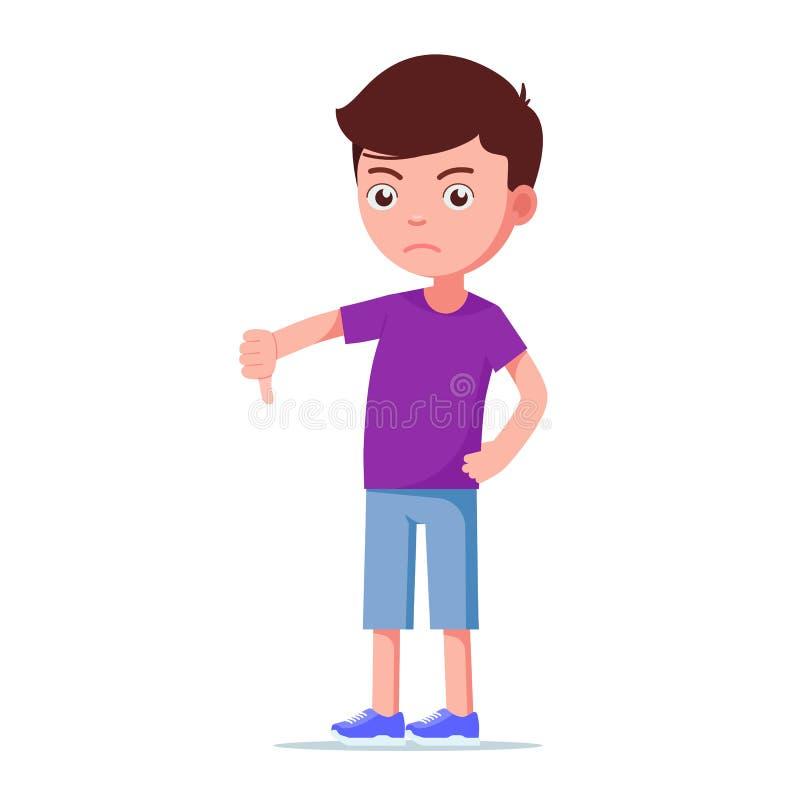 Unglücklicher Junge der Karikatur, der unten Daumen zeigt lizenzfreie abbildung