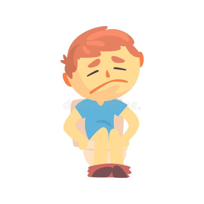 Unglücklicher Jungencharakter, der auf der Toilette leidet unter Diarrhöe- und Bauchschmerzenkarikaturvektorillustration sitzt vektor abbildung