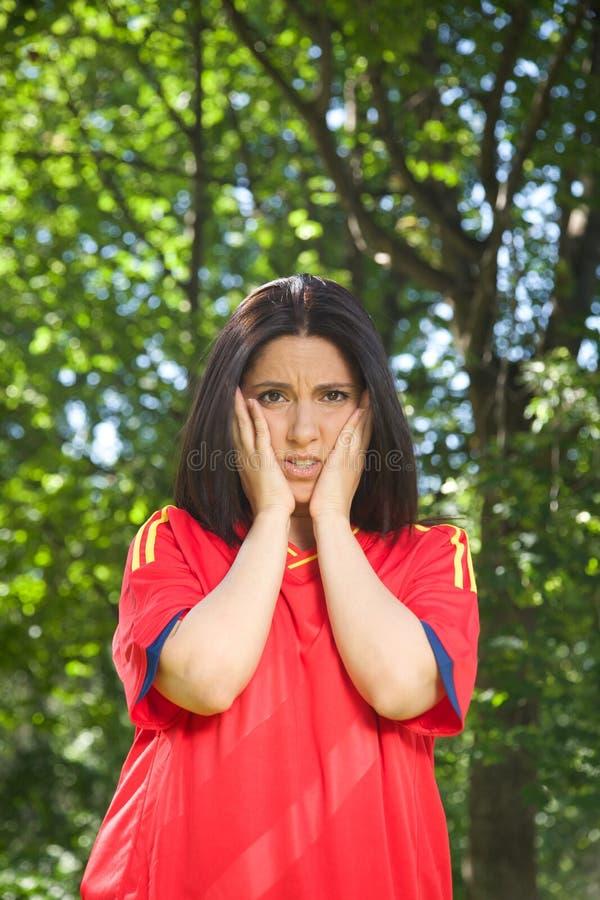 Unglücklicher spanischer Fußballanhänger lizenzfreies stockbild