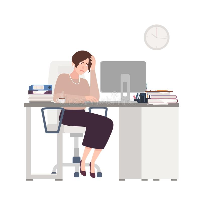 Unglücklicher weiblicher Sekretär, der am Schreibtisch sitzt Traurige, müde oder erschöpfte Frau im Büro Stressige Arbeit, Druck  lizenzfreie abbildung