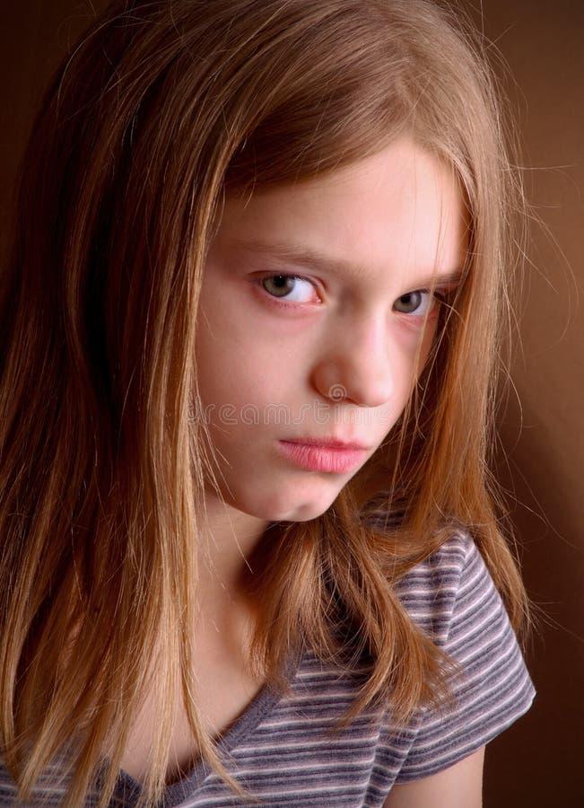 Unglückliches junges Mädchen stockfoto