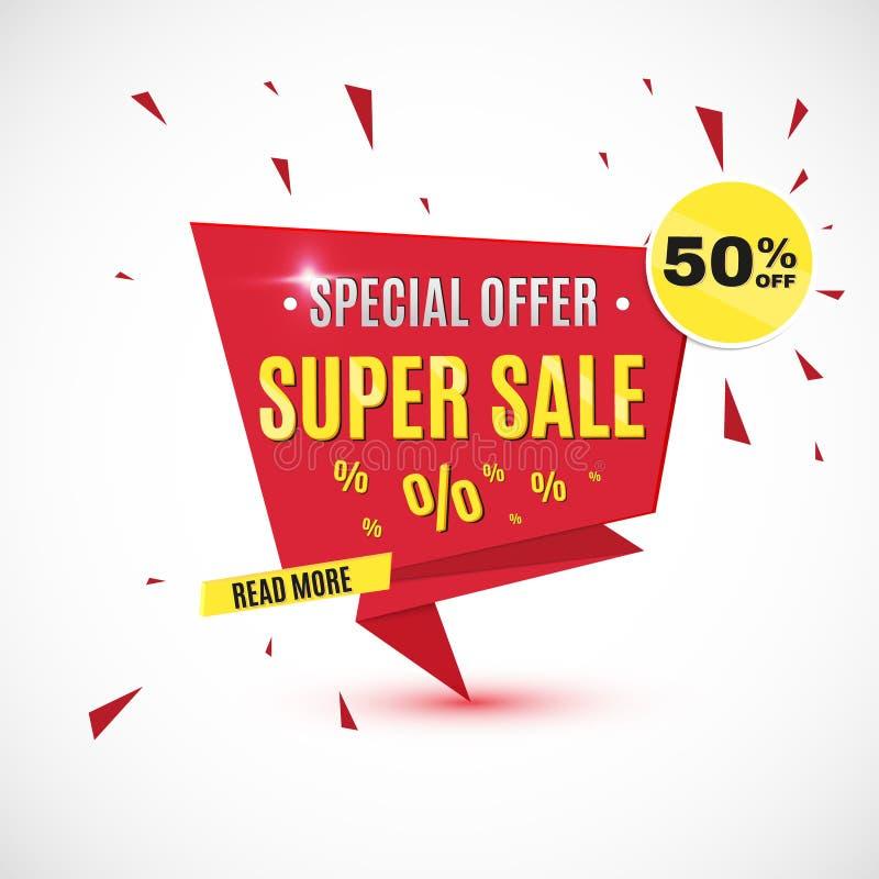 Unglaubliche wow-Verkaufsfahnen-Designschablone Sonderangebot des großen Superverkaufs, Vektorillustration lizenzfreie abbildung