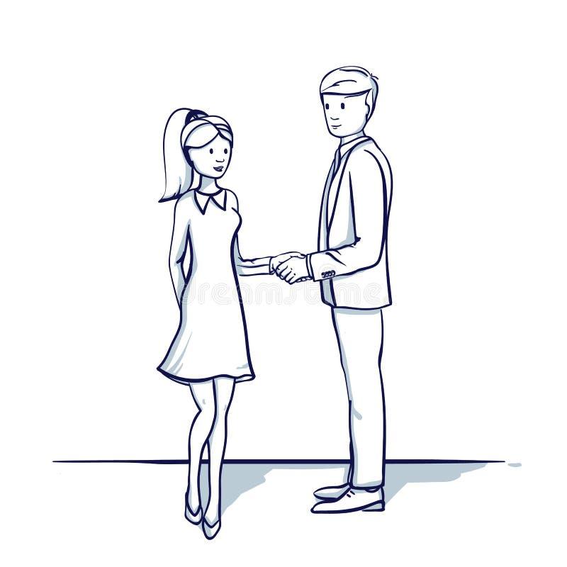 Ungt affärsfolk: en man och en kvinna skakar händer royaltyfri illustrationer