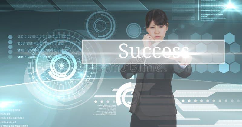 Ungt affärskvinnaanseende på ett diagram av succes med digital bakgrund arkivfoton