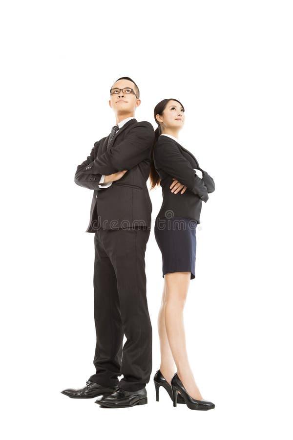 Ungt affärsman- och affärskvinnaanseende arkivfoton