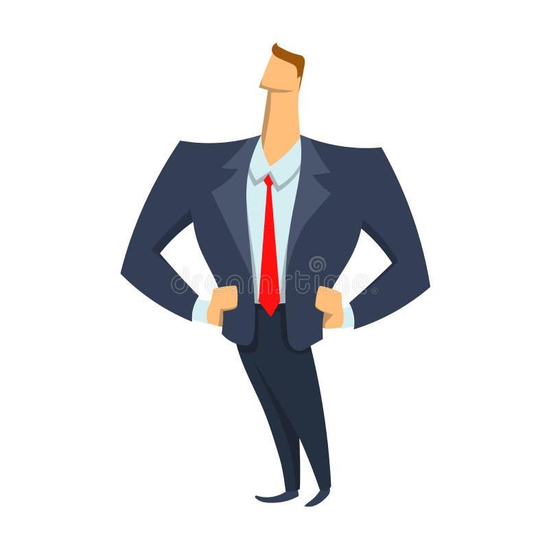 Ungt affärsmananseende med händer på höfter Vektorillustration som isoleras på vit bakgrund vektor illustrationer