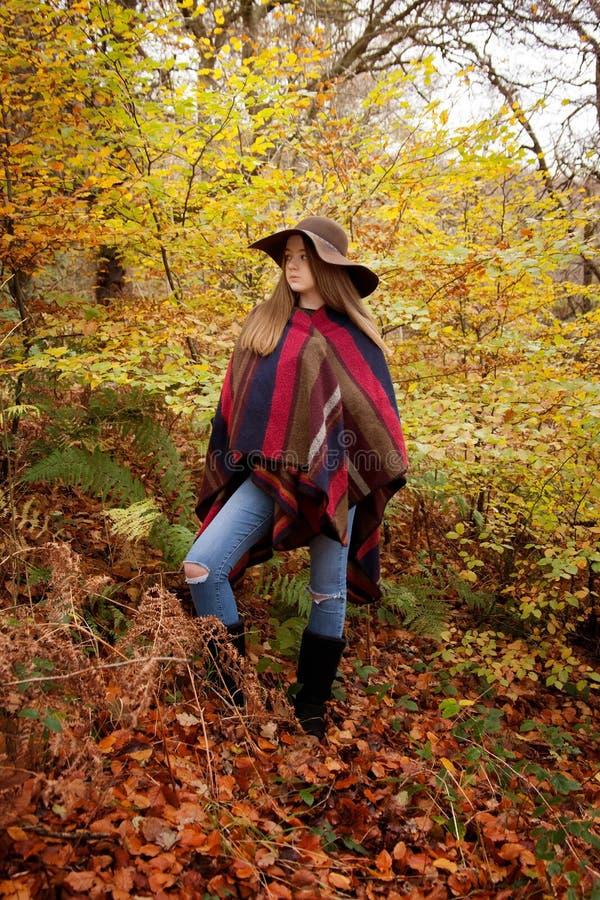 Ungt anseende för tonårs- flicka i en skog i höst arkivbilder