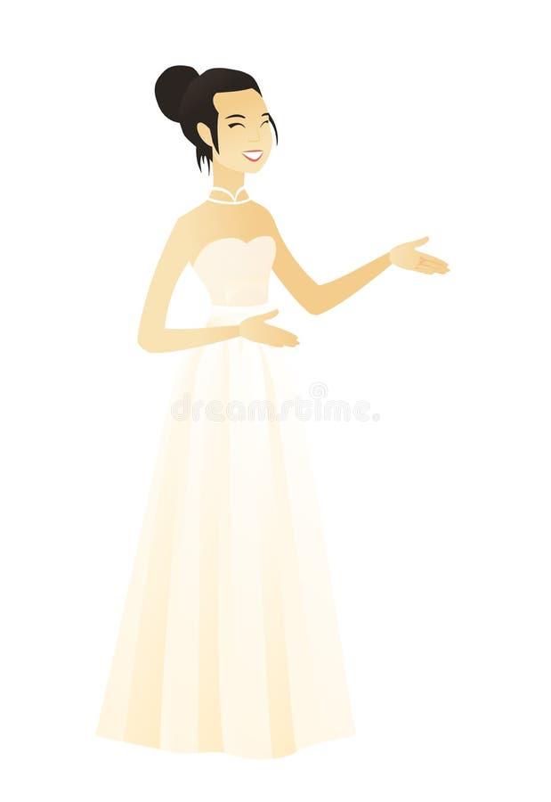 Ungt asiatiskt lyckligt göra en gest för fästmö stock illustrationer