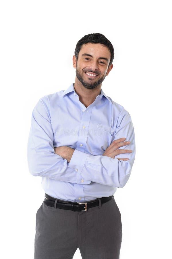 Ungt attraktivt anseende för affärsman i den företags ståenden som isoleras på vit bakgrund royaltyfri bild