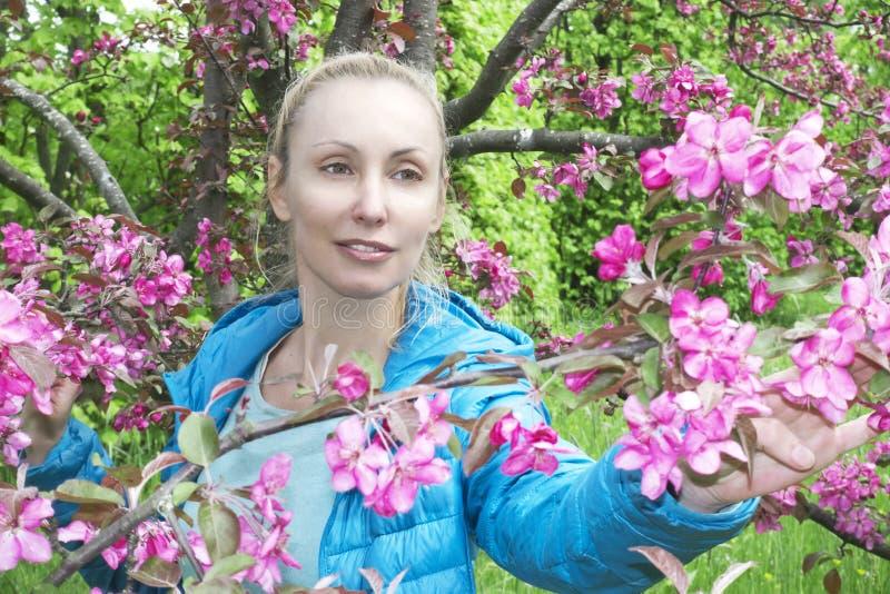 Ungt attraktivt kvinnaanseende nära det blomstra karmosinröda äppleträdet arkivbild