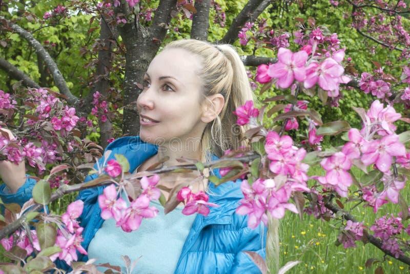 Ungt attraktivt kvinnaanseende nära det blomstra karmosinröda äppleträdet royaltyfria bilder
