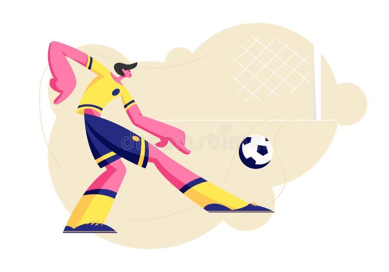 Ungt fotbollsspelaretecken i Team Uniform Kicking Ball, idrottsmanutbildning för konkurrens, turnering för fotbollliga royaltyfri illustrationer