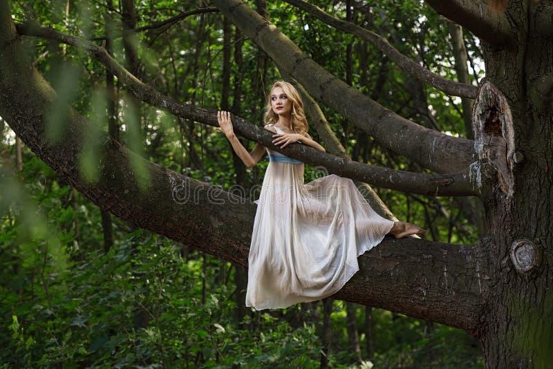 Ungt härligt flickasammanträde på ett stort träd i sommar parkerar royaltyfri foto