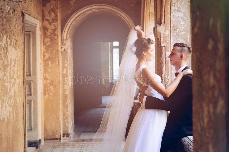 Ungt härligt krama för nygifta personer royaltyfri bild