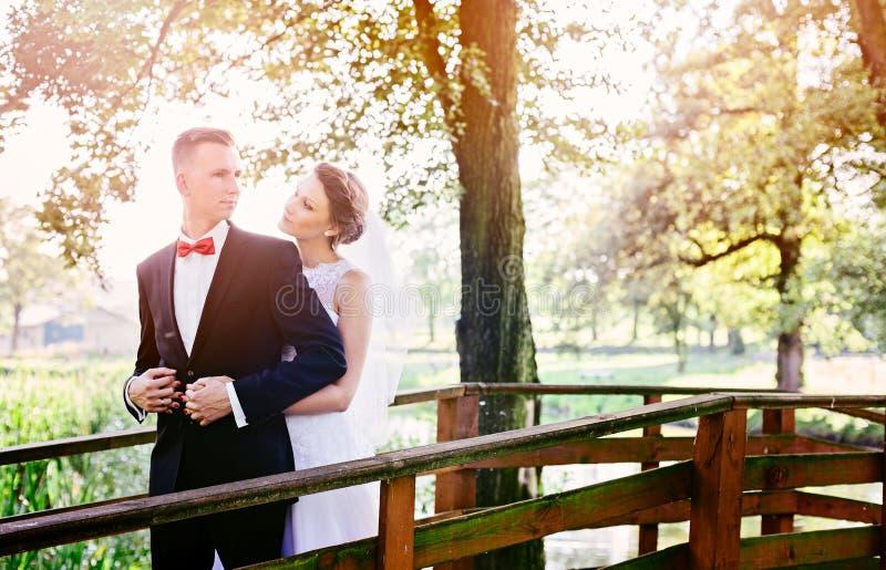 Ungt härligt kyssa för brud och för brudgum royaltyfri bild