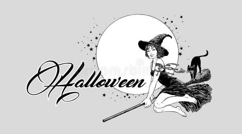 Ungt halloween häxaflyg på kvastvektor stock illustrationer