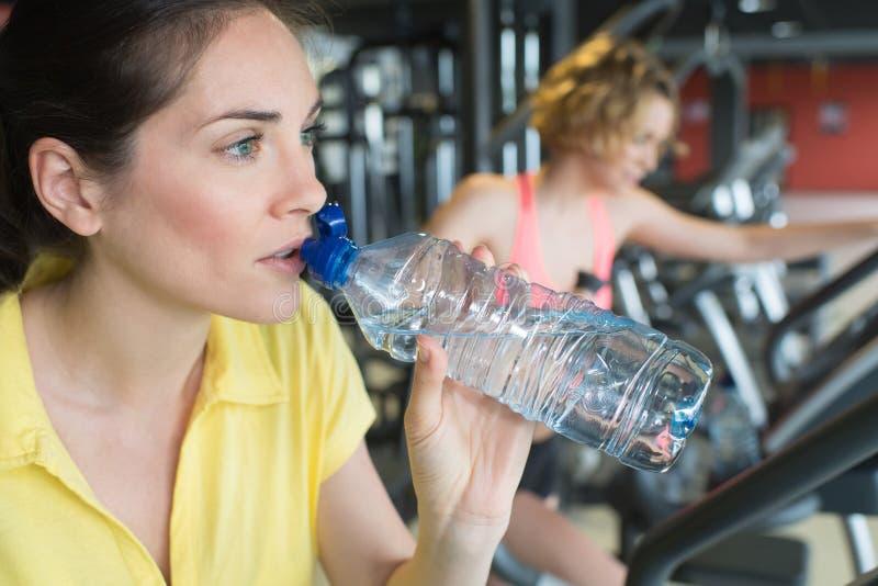 Ungt idrotts- kvinnadricksvatten i idrottshall arkivfoto
