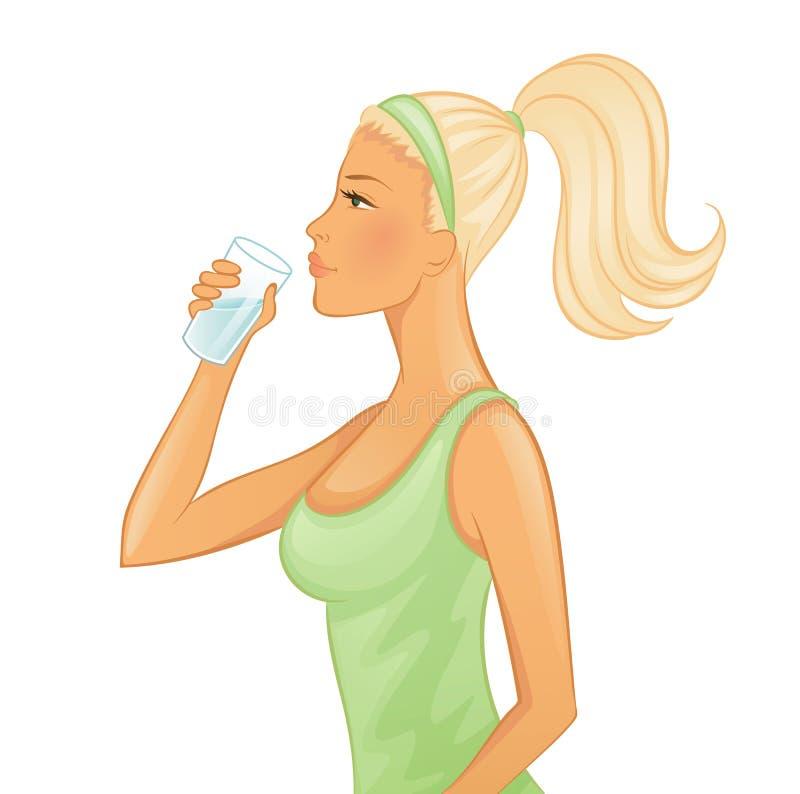 Ungt kvinnadricksvatten vektor illustrationer