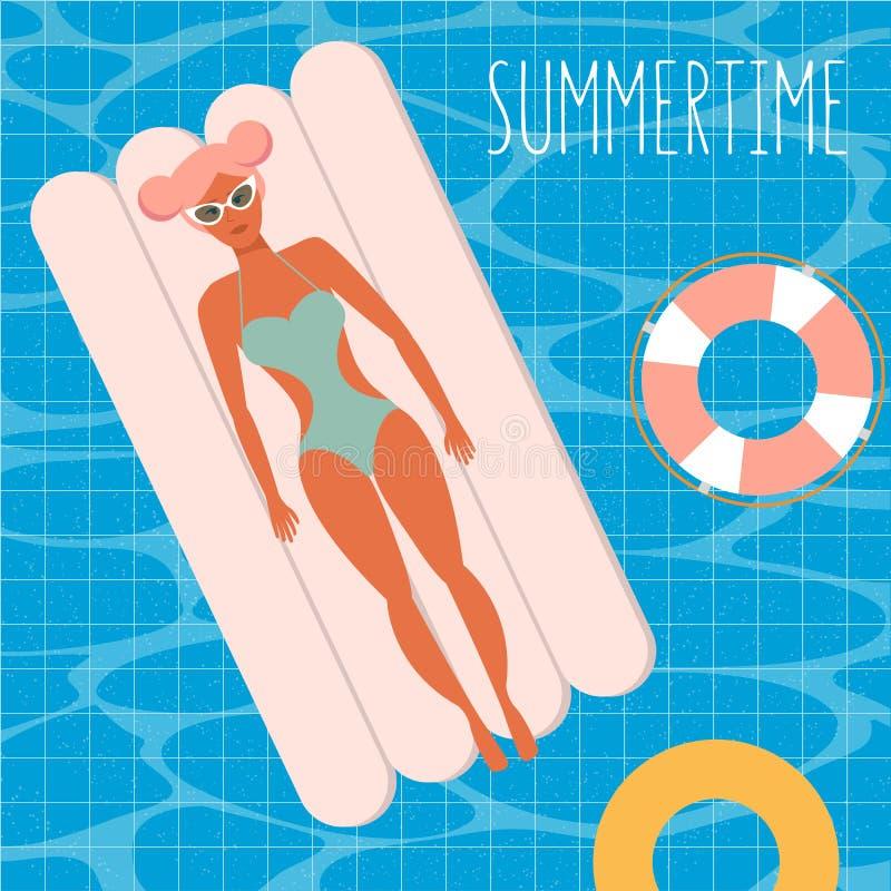 Ungt kvinnligt tecken med rosa hår som kopplar av att ligga på den uppblåsbara madrassen i simbassängen Bästa sikt, vektor royaltyfri illustrationer