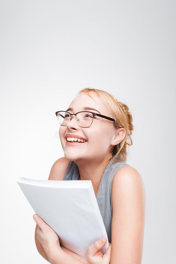 Ungt le blont lyckligt om stor framgång royaltyfri fotografi