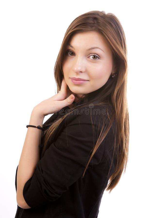 Ungt le för affärskvinna royaltyfri bild