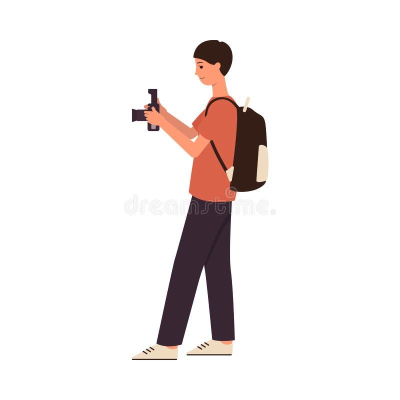 Ungt manligt fotograftecknad filmtecken som tar en bild med den digitala kameran royaltyfri illustrationer