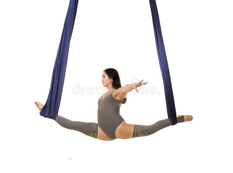 Ungt och att le akrobaten, med l?ngt h?r, i en gr? dr?kt och damasker som g?r ?vningar p? bl?tt luftigt silke royaltyfria foton