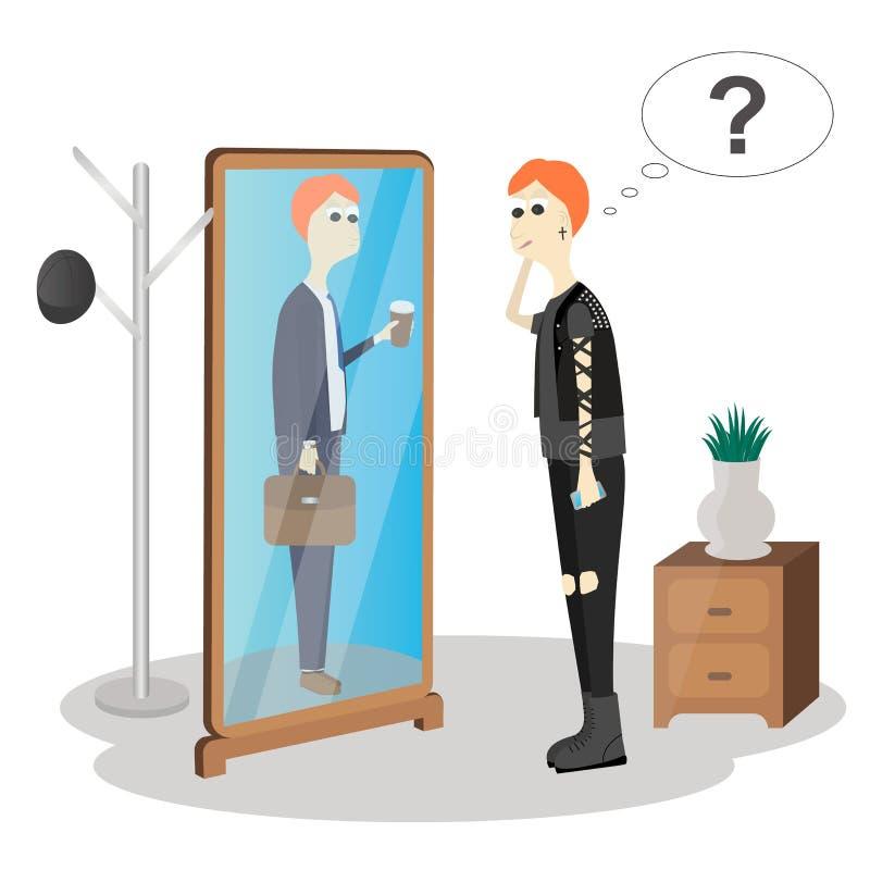 Ungt rebelliskt anseende framme av en spegel som ser honom reflexion och att se kontorsarbetaren royaltyfri illustrationer